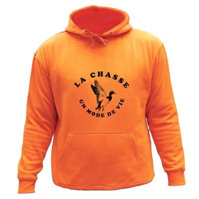 sweat de chasse orange capuche canard