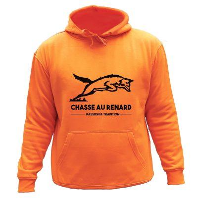 sweat de chasse capuche orange renard