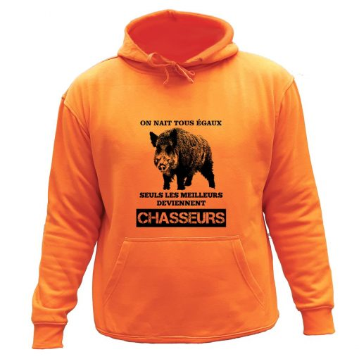 sweat de chasse capuche orange sanglier