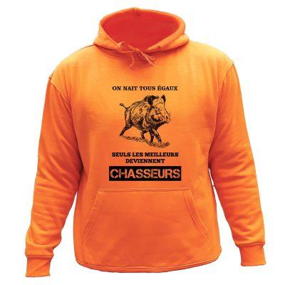 sweat de chasse capuche orange