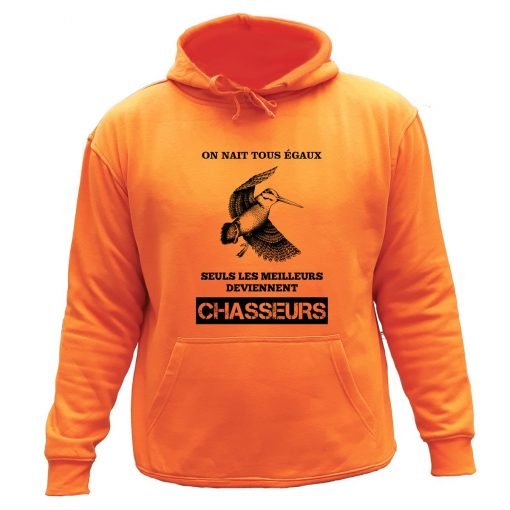 sweat de chasse capuche orange becasse