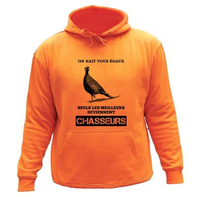 sweat orange chasse capuche chasseur faisan