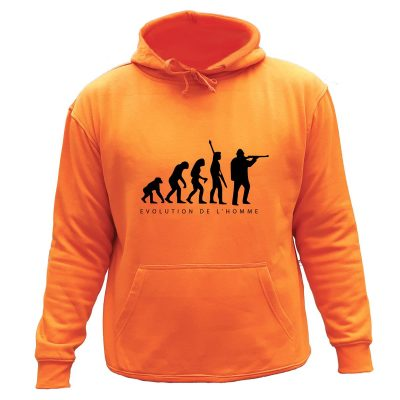 sweat de chasse capuche orange