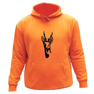 sweat de chasse capuche orange cerf