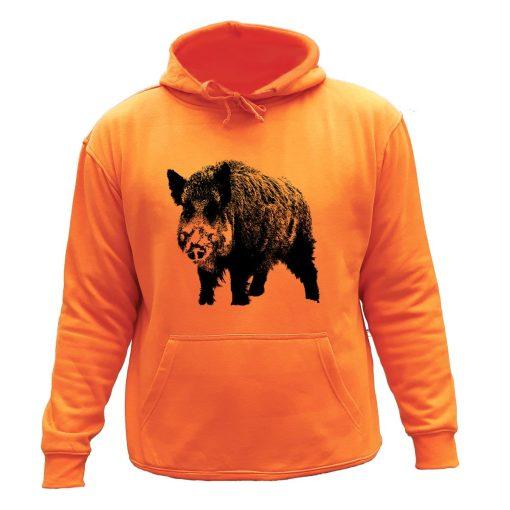 sweat de chasse capuche orange sanglier