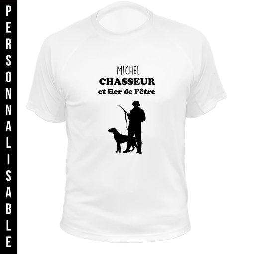tee-shirt blanc personnalisable, idée cadeau d'anniversaire pour chasseur,