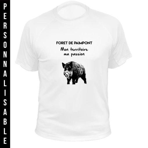 tee-shirt blanc personnalisable, idée cadeau d'anniversaire pour chasseur, sanglier