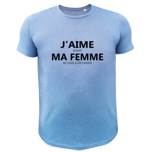 cadeau humoristique pour chasseur, tee-shirt bleu