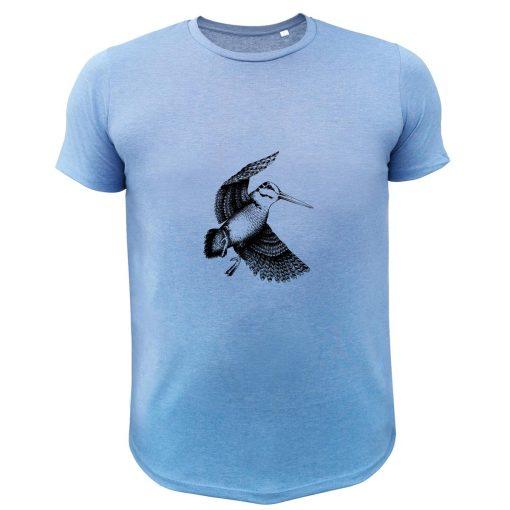 cadeau de noël original pour chasseur, t-shirt bleu avec bécasse