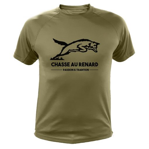 t-shirt kaki renard cadeau fête des peres chasseur
