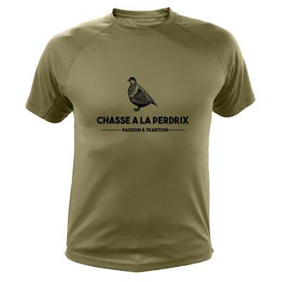 tee-shirt kaki cadeau de noël original pour homme chasseur perdrix