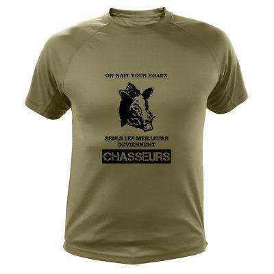 boutique de chasse, t-shirt original kaki, sanglier