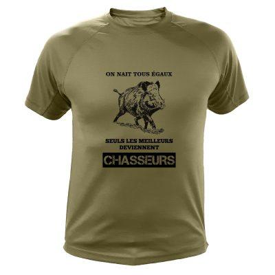 article de chasse t-shirt kaki sanglier