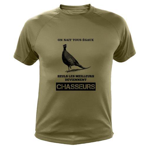 idée cadeau pour un chasseur, t-shirt kaki, perdrix