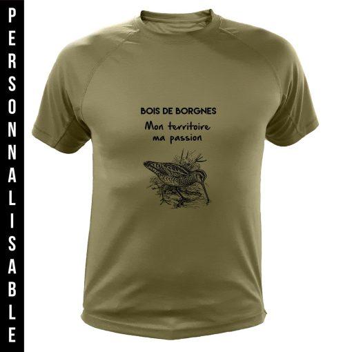 vêtement de chasse personnalisable, cadeau humoristique pour chasseur, vert, bécasse