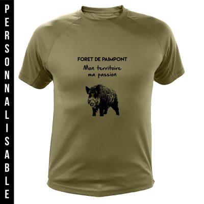 vêtement de chasse personnalisable, cadeau humoristique pour chasseur, vert, sanglier