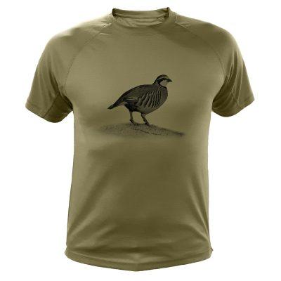 cadeau de noël original pour chasseur, t-shirt kaki avec perdrix