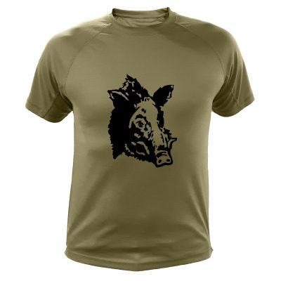 idée cadeau de Noël pour chasseur, tee-shirt vert avec un sanglier