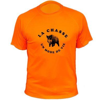 teeshirt chasse orange fluo sanglier