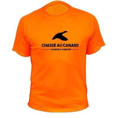 t-shirt orange fluo canard idée cadeau de noël papa chasseur