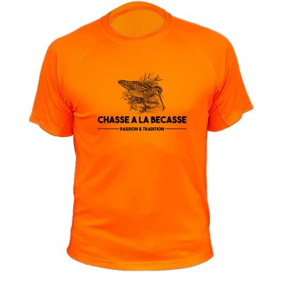tee-shirt chasse orange fluo cadeau bécasse