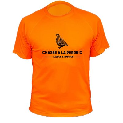 tee-shirt orange fluo perdrix cadeau homme chasseur