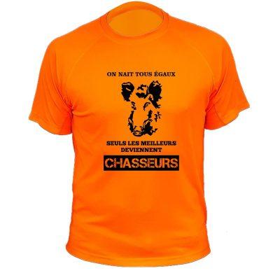 cadeau pour un chasseur tee-shirt orange fluo sanglier