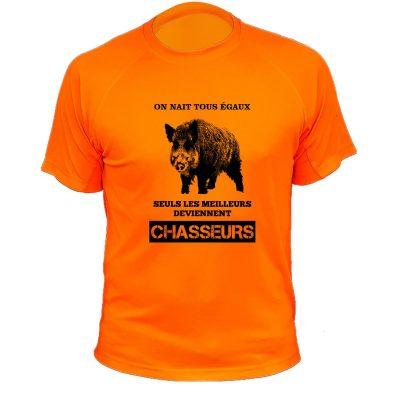 tee-shirt de chasse orange fluo original