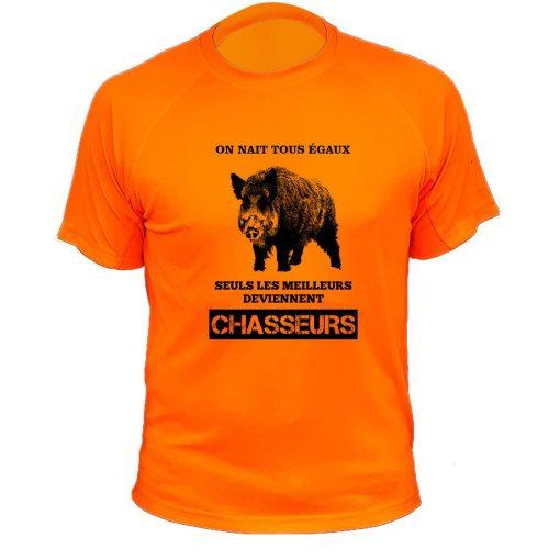 tee-shirt de chasse orange fluo original