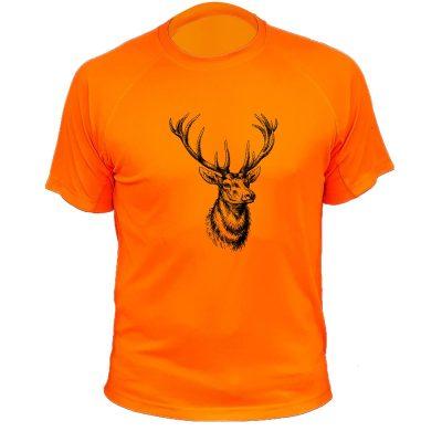 tee-shirt original pour chasseur orange fluo cerf