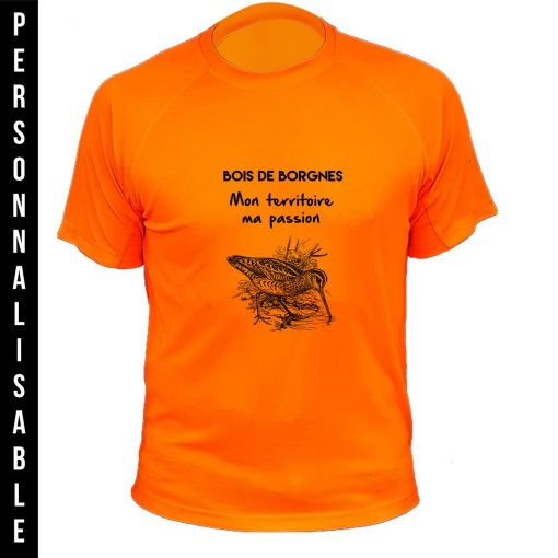 habit de chasse personnalisable et humoristique orange fluo bécasse