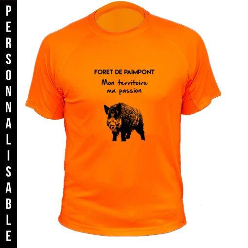 habit de chasse personnalisable et humoristique orange fluo, sanglier