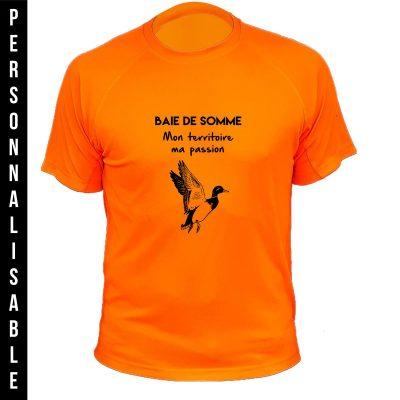 idée de cadeau de fête des pères, tee-shirt personnalisable orange fluo, canard