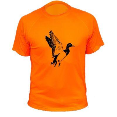 cadeau de noël original pour chasseur, t-shirt orange fluo avec canard