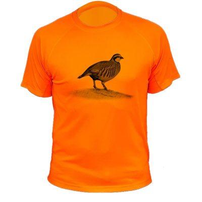 cadeau anniversaire pour homme chasseur tee-shirt orange fluo avec perdrix