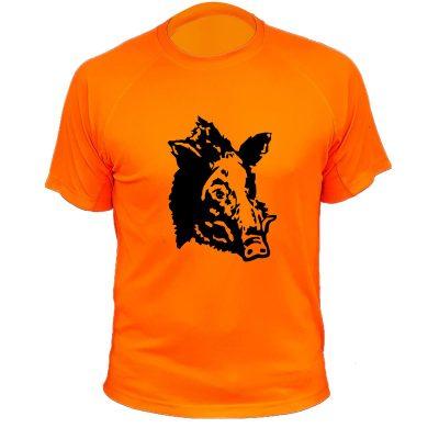cadeau pour papa chasseur, tee-shirt orange fluo avec un sanglier