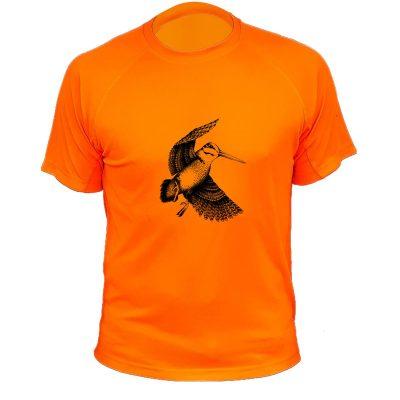 cadeau pour papa chasseur, tee-shirt orange fluo avec bécasse