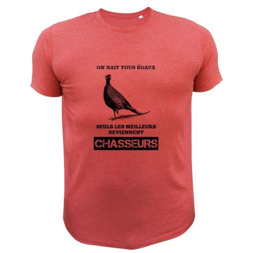 idée cadeau pour chasseur, tee-shirt rouge, faisan