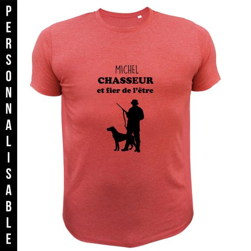 cadeau de Noël personnalisable pour homme chasseur, tee-shirt rouge