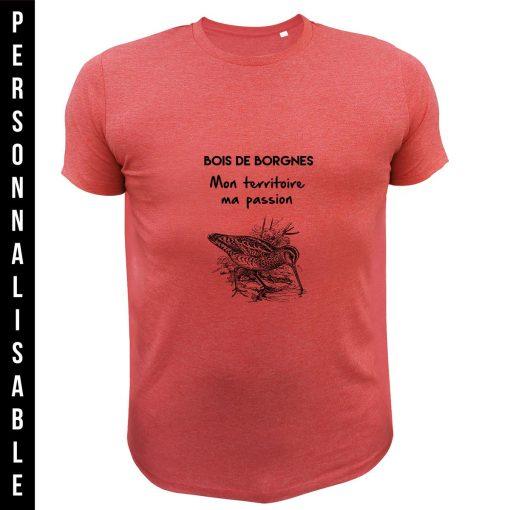 cadeau de Noël personnalisable pour homme chasseur, tee-shirt rouge bécasse