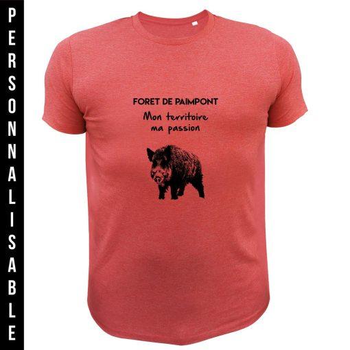 cadeau de Noël personnalisable pour homme chasseur, tee-shirt rouge sanglier