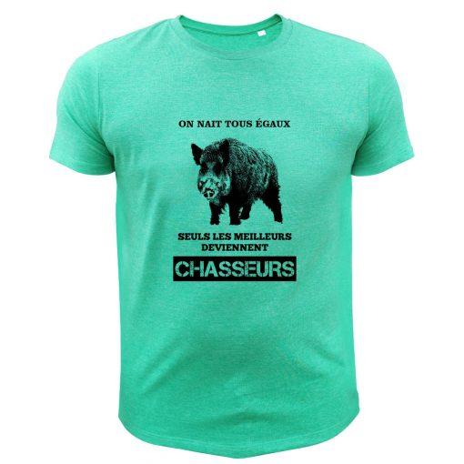 tee-shirt sanglier idée cadeau papa chasseur vert