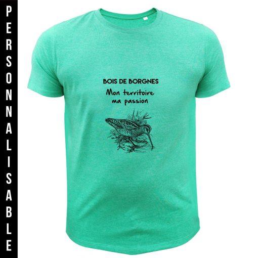 t-shirt personnalisable original pour chasseur, vert, bécasse
