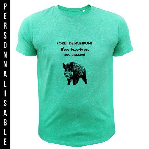 t-shirt personnalisable original pour chasseur, vert, sanglier
