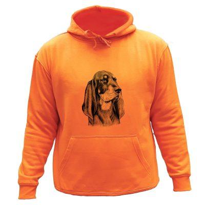 sweat chasse capuche orange chien courant bruno jura