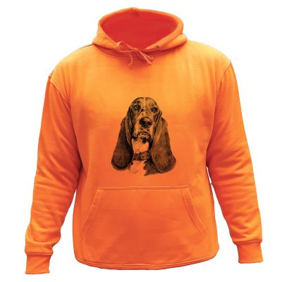 sweat chasse capuche orange chien courant Basset artésien normand