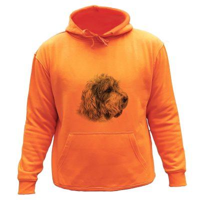 sweat chasse capuche orange chien courant Basset Fauve de Bretagne