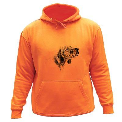 sweat chasse capuche orange chien d'arrêt Setter