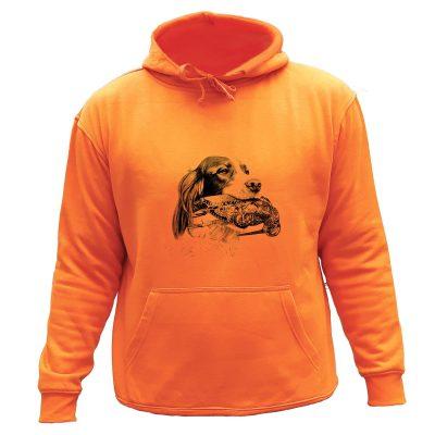 Sweat chasse capuche orange chien d'arrêt Setter Bécasse
