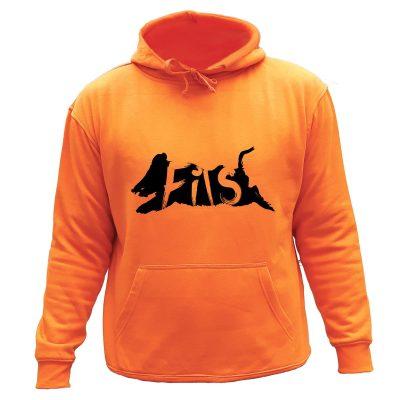sweat chasse capuche orange fils